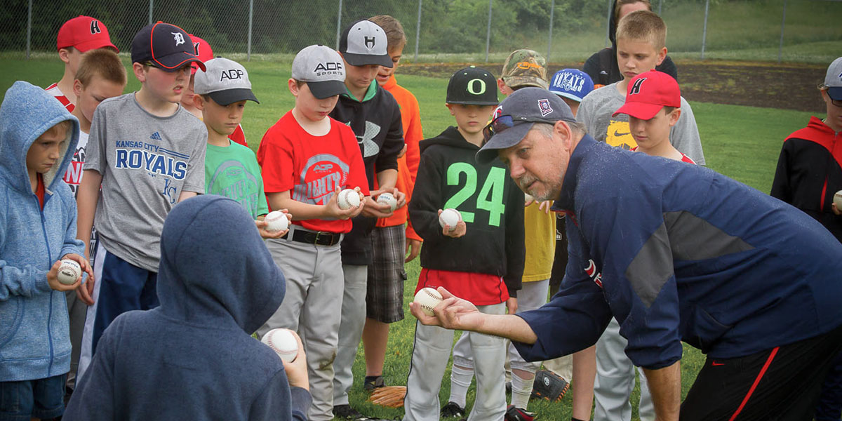 Former major leaguer Mark Brown instructing some future All Stars.