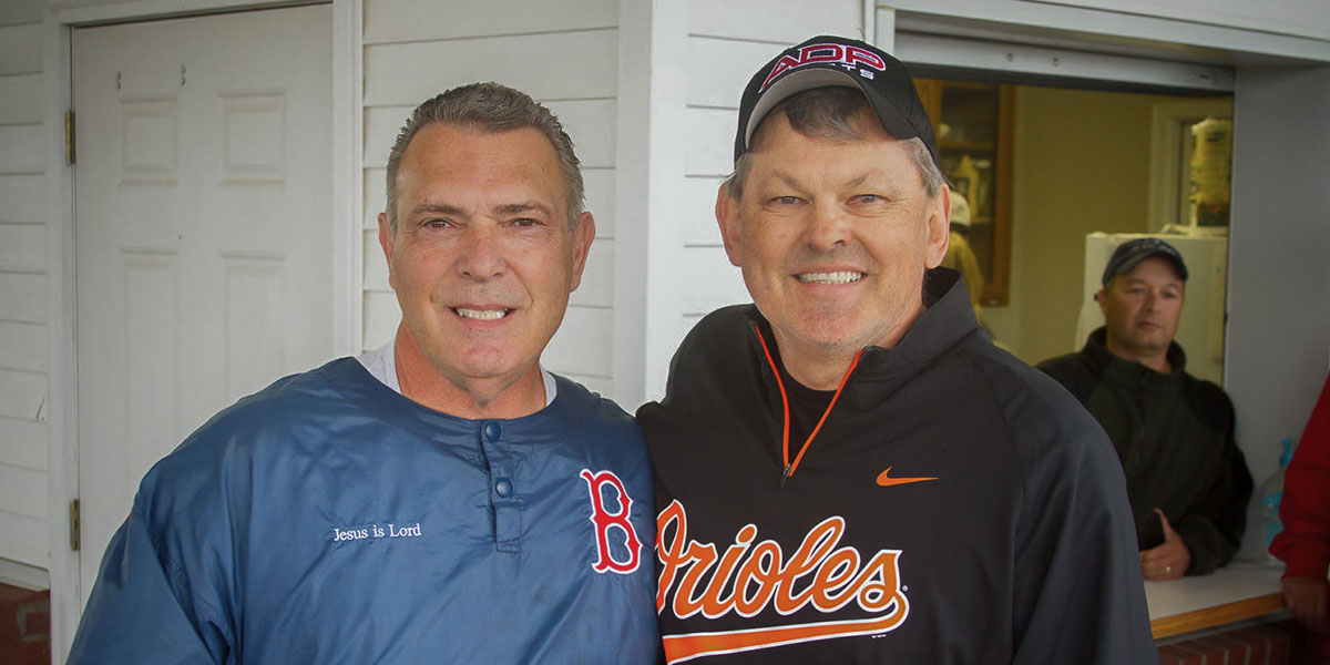 Former major leaguers Bernie Carbo and Bobby Bonner at the baseball clinic.